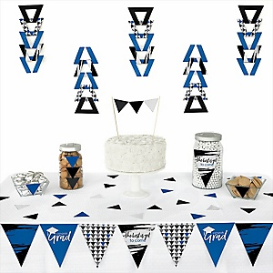 Blue Grad - Best is Yet to Come -  Triangle Graduation Party Decoration Kit - 72 Piece