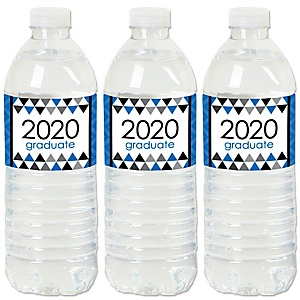 Blue Grad - Best is Yet to Come - 2020 Royal Blue Graduation Party Water Bottle Sticker Labels - Set of 20