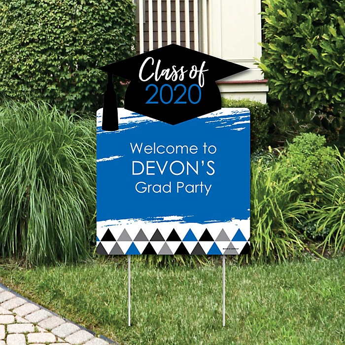 Blue Grad - Best is Yet to Come - Party Decorations - 2019 Graduation Party Personalized Welcome Yard Sign