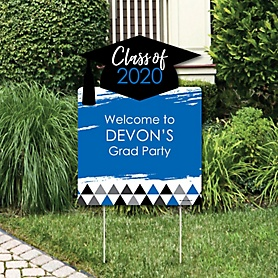 Blue Grad - Best is Yet to Come - Party Decorations - 2020 Graduation Party Personalized Welcome Yard Sign
