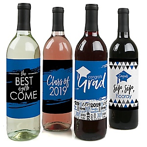 Blue Grad - Best is Yet to Come - 2019 Graduation Decorations for Women and Men - Wine Bottle Label Stickers - Set of 4