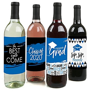 Blue Grad - Best is Yet to Come - 2020 Graduation Decorations for Women and Men - Wine Bottle Label Stickers - Set of 4