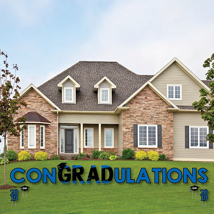 conGRADulations - Blue Grad - Best is Yet to Come - Yard Sign Outdoor Lawn Decorations - Blue 2019 Graduation Party Yard Signs