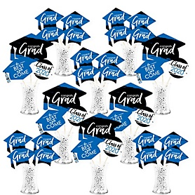 Blue Grad - Best is Yet to Come - 2020 Royal Blue Graduation Party Centerpiece Sticks - Showstopper Table Toppers - 35 Pieces