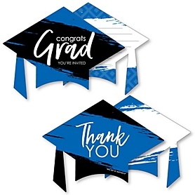 Blue Grad - Best is Yet to Come - 20 Shaped Fill-In Invitations and 20 Shaped Thank You Cards Kit - Royal Blue Graduation Party Stationery Kit - 40 Pack