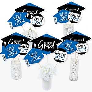 Blue Grad - Best is Yet to Come - 2020 Royal Blue Graduation Party Centerpiece Sticks - Table Toppers - Set of 15