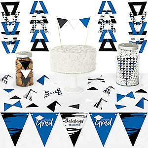 Blue Grad - Best is Yet to Come - DIY Pennant Banner Decorations - Royal Blue Graduation Party Triangle Kit - 99 Pieces