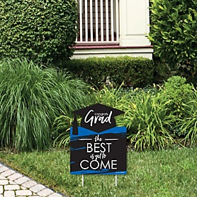 Blue Grad - Best is Yet to Come - Outdoor Lawn Sign - Royal Blue Graduation Party Yard Sign - 1 Piece