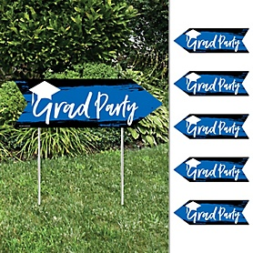Blue Grad - Best is Yet to Come - Arrow Graduation Party Direction Signs - Double Sided Outdoor Yard Signs - Set of 6