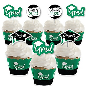 Green Grad - Best is Yet to Come - Cupcake Decoration - 2020 Green Graduation Party Cupcake Wrappers and Treat Picks Kit - Set of 24