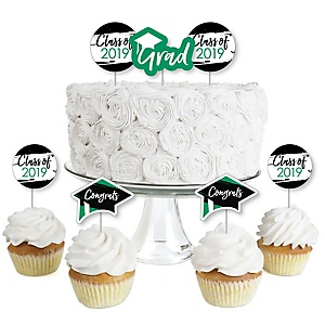 Green Grad - Best is Yet to Come - Dessert Cupcake Toppers - Green 2019 Graduation Party Clear Treat Picks - Set of 24