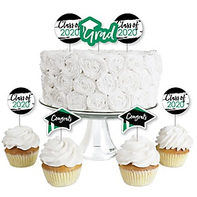 Green Grad - Best is Yet to Come - Dessert Cupcake Toppers - Green 2020 Graduation Party Clear Treat Picks - Set of 24