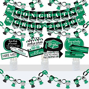 Green Grad - Best is Yet to Come - Banner and Photo Booth Decorations - 2020 Green Graduation Party Supplies Kit - Doterrific Bundle