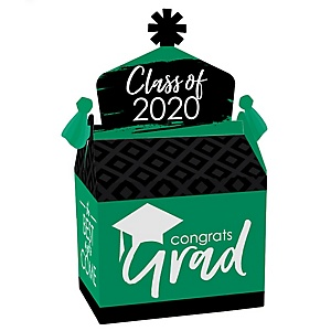 Green Grad - Best is Yet to Come - Treat Box Party Favors - 2020 Green Graduation Party Goodie Gable Boxes - Set of 12