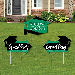 Green Grad - Best is Yet to Come - 2 Green Graduation Party Arrows and 1 Welcome / Thank You Lawn Sign - Double Sided Grad Yard Sign Set - 3 Pieces