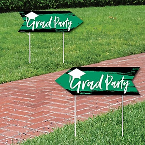 Green Grad - Best is Yet to Come - Graduation Party Sign Arrow - Double Sided Directional Yard Signs - Set of 2