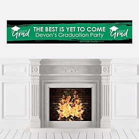 Green Grad - Best is Yet to Come - Personalized Green Graduation Party Banner