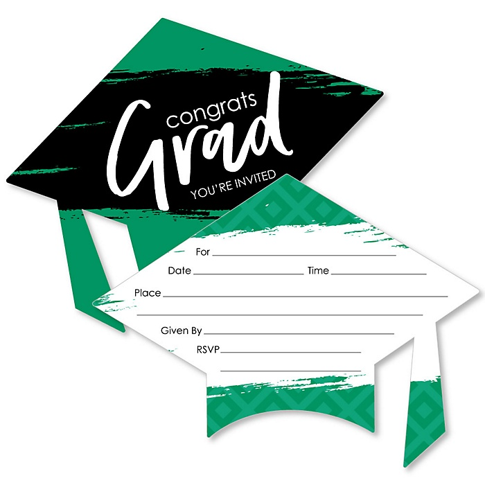 Green Grad - Best is Yet to Come - Shaped Fill-In Invitations - Graduation Party Invitation Cards with Envelopes - Set of 12