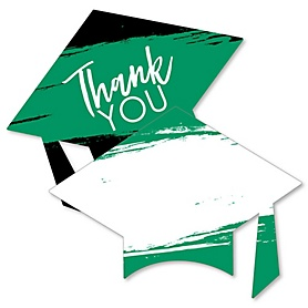Green Grad - Best is Yet to Come - Shaped Thank You Cards - Green Graduation Party Thank You Note Cards with Envelopes - Set of 12