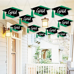 Hanging Green Grad - Best is Yet to Come - Outdoor Graduation Party Hanging Porch & Tree Yard Decorations - 10 Pieces