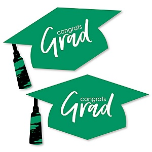 Green Grad - Best is Yet to Come - Graduation Hat Decorations DIY Large Green Graduation Party Essentials - 20 Count