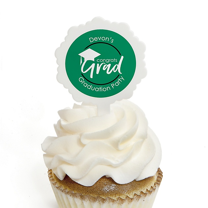 Green Grad - Best is Yet to Come - Personalized Graduation Cupcake Pick and Sticker Kit - 12 ct