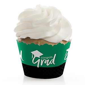 Green Grad - Best is Yet to Come - Graduation Decorations - Party Cupcake Wrappers - Set of 12