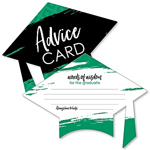 Green Grad - Best is Yet to Come - Green Grad Cap Wish Card Graduation Party Activities - Shaped Advice Cards Games - Set of 20