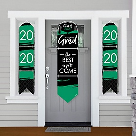 Green Grad - Best is Yet to Come - Hanging Porch Front Door Signs - 2020 Green Graduation Party Banner Decoration Kit - Outdoor Door Decor