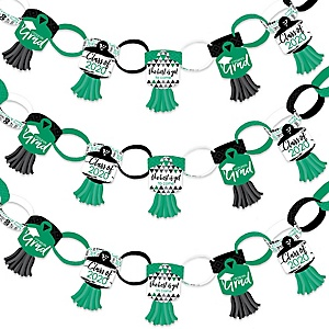 Green Grad - Best is Yet to Come - 90 Chain Links and 30 Paper Tassels Decoration Kit - 2020 Green Graduation Party Paper Chains Garland - 21 feet