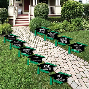 Green Grad - Best is Yet to Come - Grad Cap Lawn Decorations - Outdoor Green Graduation Party Yard Decorations - 10 Piece