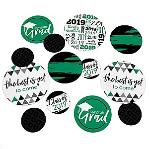 Green Grad - Best is Yet to Come - 2019 Graduation Party Giant Circle Confetti - Green Grad Party Decorations - Large Confetti 27 Count