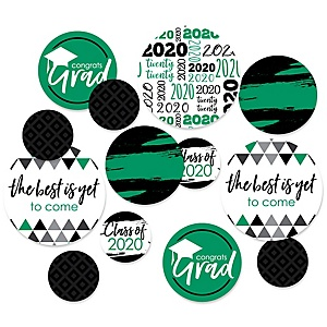 Green Grad - Best is Yet to Come - 2020 Graduation Party Giant Circle Confetti - Green Grad Party Decorations - Large Confetti 27 Count