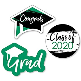 Green Grad - Best is Yet to Come - DIY Shaped 2020 Graduation Party Paper Cut-Outs - 24 ct
