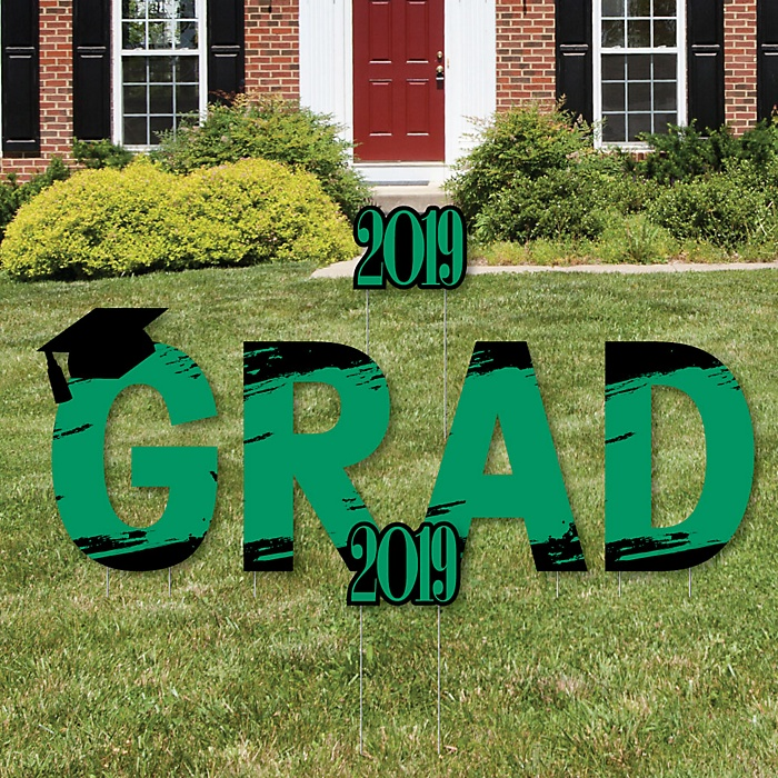 GRAD - Green Grad - Best is Yet to Come - Yard Sign Outdoor Lawn Decorations - Green 2019 Graduation Party Yard Signs