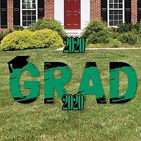 GRAD - Green Grad - Best is Yet to Come - Yard Sign Outdoor Lawn Decorations - Green 2020 Graduation Party Yard Signs