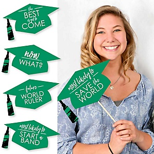 Hilarious Green Grad - Best is Yet to Come - 20 Piece Green Graduation Party Photo Booth Props Kit