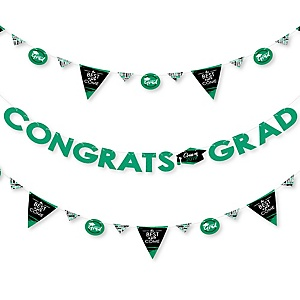 Green Grad - Best is Yet to Come - 2019 Green Graduation Party Letter Banner Decoration - 36 Banner Cutouts and Congrats Grad Banner Letters