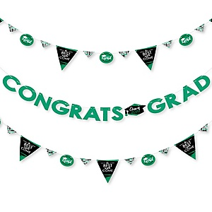 Green Grad - Best is Yet to Come - 2020 Green Graduation Party Letter Banner Decoration - 36 Banner Cutouts and Congrats Grad Banner Letters