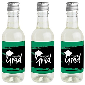 Green Grad - Best is Yet to Come - Mini Wine and Champagne Bottle Label Stickers - Green Graduation Party Favor Gift - Set of 16