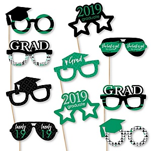 Green Grad Glasses - Best is Yet to Come - Green 2019 Paper Card Stock Graduation Party Photo Booth Props Kit - 10 Count