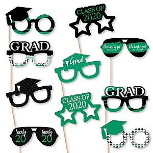 Green Grad Glasses - Best is Yet to Come - Green 2020 Paper Card Stock Graduation Party Photo Booth Props Kit - 10 Count