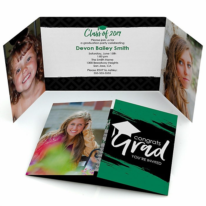 Green Grad - Best is Yet to Come - Personalized Photo 2019 Graduation Invitations - Set of 12