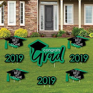 Green Grad - Best is Yet to Come - Yard Sign & Outdoor Lawn Decorations – 2019 Graduation Party Yard Signs - Set of 8