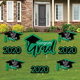 Green Grad - Best is Yet to Come - Yard Sign & Outdoor Lawn Decorations – 2020 Graduation Party Yard Signs - Set of 8