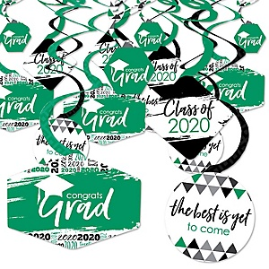 Green Grad - Best is Yet to Come - 2020 Green Graduation Party Hanging Decor - Party Decoration Swirls - Set of 40