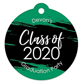Green Grad - Best is Yet to Come - Round Personalized 2020 Graduation Party Die-Cut Tags - 20 ct