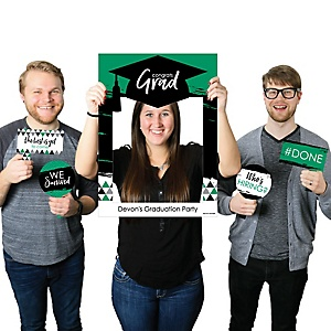 Green Grad - Best is Yet to Come - Personalized Graduation Party Selfie Photo Booth Picture Frame & Props - Printed on Sturdy Material