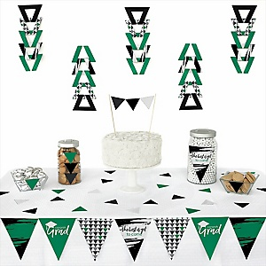 Green Grad - Best is Yet to Come -  Triangle Graduation Party Decoration Kit - 72 Piece