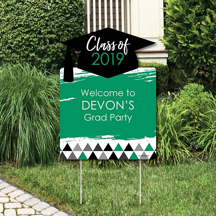 Green Grad - Best is Yet to Come - Party Decorations - 2019 Graduation Party Personalized Welcome Yard Sign